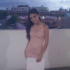 Pink sequined/ embellished lace light pink dress